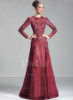 A-Line/Princess Scoop Neck Floor-Length Appliques Lace Lace Zipper Up Sleeves Long Sleeves No Black Burgundy Grape Silver Winter Fall General Evening Dress