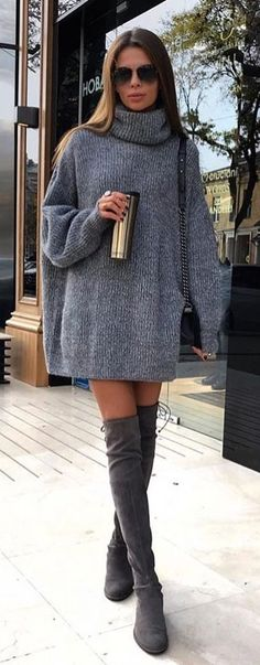 #winter #outfits gray turtle neck sweater