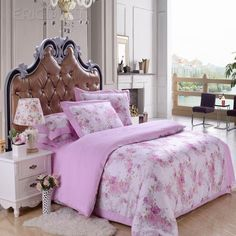 $ 64.99 Pearl Pink Theme and Flower Printed Image 100% Cotton 4 Piece Bedding Set