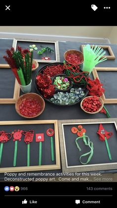 Red and Green Loose Parts Play for Anzac Day. day Red and Green Loose Parts Play for Anzac Day. Reggio Emilia, Remembrance Day Activities, Remembrance Day Art, Nursery Activities, Preschool Activities, End Of Year Activities, Kindergarten Art, Preschool Art, Early Education