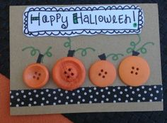 Cute idea! Halloween Card Making with Button Pumpkins via Laura Kelly's Inklings #GlueDots