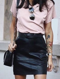 Blush tee + black leather mini.