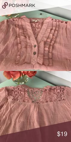 Blush lace blouse Beautiful v neck ruffle front lace shoulder back blouse. Almost a nude blush pink. Brand new with tag and extra button. Size medium. Poly rayon blend EM Tops Blouses
