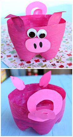 2-Liter Plastic Soda Bottle Pig Craft for Kids to Make, Recycled Crafts for kids!