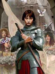Joana D'Arc art by Thomas Christian Wolf. Joan D Arc, Saint Joan Of Arc, St Joan, Jeanne D'arc, High Fantasy, Fantasy Art, Classical Mythology, Armadura Medieval, Original Paintings