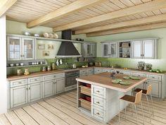 Tónovaná patina zdůrazňuje strukturu povrchu nábytkových dvířek a dodává jim nádech rustikálnosti. Nábytková dvířka ve fólii modřín latté s dodatečnou povrchovou úpravou Patina Provence. Cena od 4136 Kč/m²; Trachea