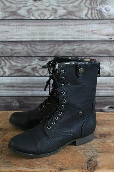 Black Combat Boots   Lily & Sparrow Boutique