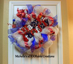 ON SALE  Happy 4th of July Deco Mesh by MaDoorableCreations, $55.00