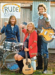 The Band With No Name, which would become Wings, c.1971, with Paul and Linda McCartney