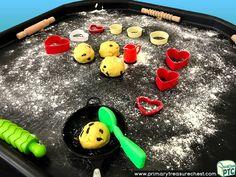 Wales - Saint David's Day - Dydd Santes Dwynwen – Welsh Cake Themed Playdough Multi-sensory Tuff Tray Ideas and Activities Multi Sensory, Sensory Play, Welsh Gifts, Saint David's Day, Tuff Spot, Playdough Activities, Tuff Tray, Eyfs, Role Play