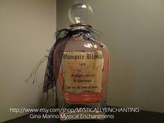 Glass Vampire Blood Bottle Large Decanter by MYSTICALLYENCHANTING, $24.50