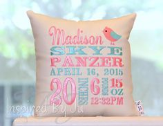 Birth Announcement Pillow by InspiredbyJu on Etsy