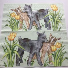 Rare single(one)beautiful Molca napkin Two lambs for collectie/decoupage ,mixed media,scrapbooking and other art and crafts door Dalilasdecoupage op Etsy