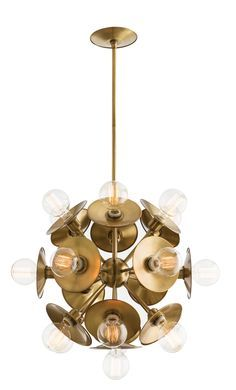 Astrid Chandelier | A nod to the startburst motif this chandelier blends retro lines with modern style. Hang two over a bar or anchor the livingroom with this striking chandelier.