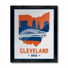 Cleveland, Ohio Skyline Poster Print: Wall Art - White Basketball