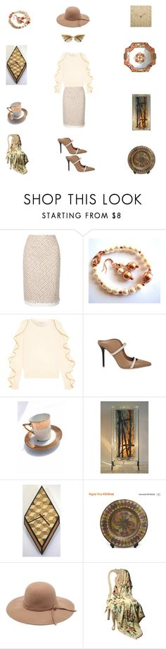 Winter white by einder on Polyvore featuring Philosophy di Lorenzo Serafini, Oscar de la Renta, Malone Souliers, Fendi, CO and vintage wall clock handmade E Inder Designs ivory wall clock
