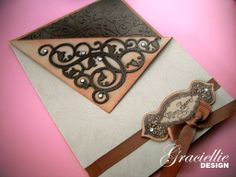 Graciellie Design - Valentine's, male card, faux pocket card, brown and cream, dry embossing, spellbinders m-bossabilities, handcut swirls from Spellbinders Gold Elements One, justrite stamps
