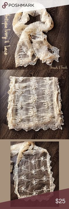 """Altar'd State Lace Scarf Altar'd State ivory lace scarf  with crochet detail trim. Length 65"""" width 16"""". Altar'd State Accessories Scarves & Wraps"""