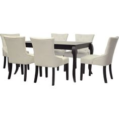 Gather friends and family for Sunday brunch or a celebratory meal around this chic dining table set, showcasing flared legs and 6 button-tufted chairs. ...