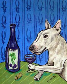 Bull Terrier at the Wine Bar signed dog art print. This Print in on heavyweight Matte paper. The Image has an approximate 1/4 inch white border around it with a printed title on the bottom left below the image as shown in the product sample image.