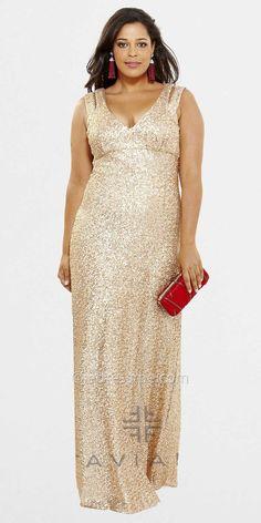 Double Strap Sequin Plus Size Evening Dresses