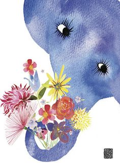 """Elephant Flower Gift - Masha D'Yans - Friendship Card. Show them that you never forget an occasion. Let this elephant offer your bouquet of best wishes. 5"""" x 7"""" Folded Card. Price: $2.99"""