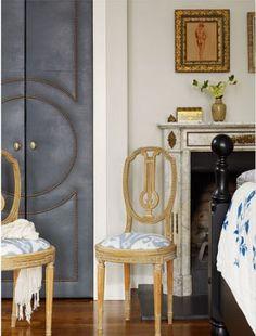 flat panel door ideas - upholstered double doors with nail head trim design, from Redmond Aldrich Design, via Houzz