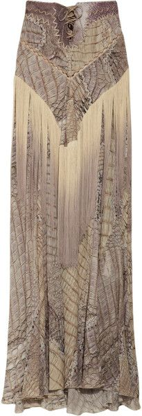 Fringed Snake-print Silk-chiffon Maxi Skirt | The House of Beccaria#