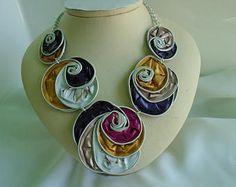pod necklace, nespresso necklace, bib necklace, alluminium, spirals, violet, pink and yellow