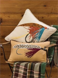 Fishing Lure Embroidered Pillow 12 x 20 from Park Designs. Fishing Bedroom, Yellow Pillows, Fish Camp, Bed Throws, Throw Pillows, Fishing Lures, Trout Fishing, Fishing Tips, Rug Hooking