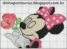 Minnie Mouse x-stitch Mickey Minnie Mouse, Mickey Mouse E Amigos, Mickey Mouse Characters, Baby Mickey, Mickey Mouse And Friends, Cross Stitch Charts, Cross Stitch Patterns, Graph Paper Art, Stitch Cartoon