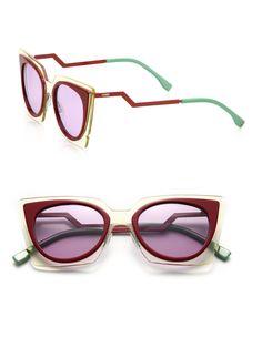 22f7a3f2eba9e Fendi - Purple Zig-zag 49mm Cat Eye Sunglasses - Lyst. MaquiagemÓculos De  Sol Do Olho ...