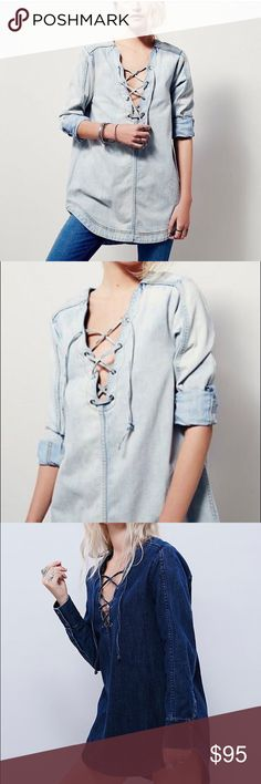 Free people lace up denim tunic Brand new with tag.Color is like the first two pictures Free People Tops Tunics