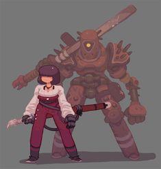 Sword Girl and Sword Bot by Nerd-Scribbles on DeviantArt