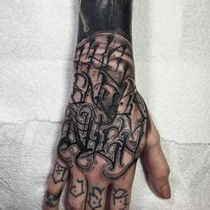 'The end is nigh' lettering hand tattoo by Anrijs Straume. lettering wording blackandgrey blackwork AnrijsStraume
