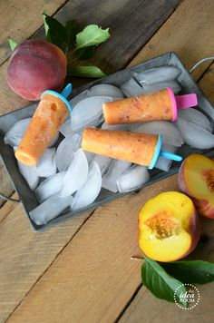Peach popsicle +++  popsicle (Canada and the United States), freeze pop (Ireland), ice lolly (United Kingdom and Ireland), ice block, icy pole (parts of Australia and New Zealand), ice pop, or freezer pop +++ Paleta o polo de melocoton