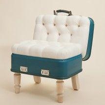 Such a cool Samsonite blue vintage suitcase chair