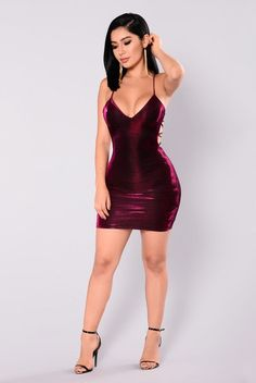 Josette Metallic Dress - Fuchsia
