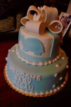 Baby Blue Turtle & Bow Baby Shower Cake - triflescakes.com