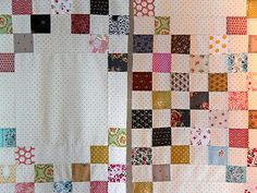 Quilt2 rosy little things irish chain close up.  Love pindot as neutral.