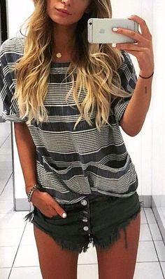 Stripped tee & distressed shorts xx Shop easy cute styles on Effinshop.com