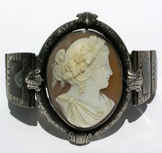 Amazing Victorian silver banded Agate and Cameo bracelet