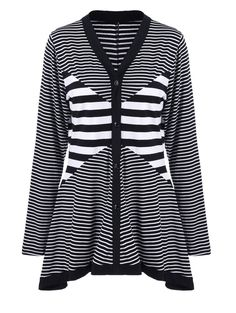 Plus Size Buttoned Striped Asymmetric Cardigan #shoes, #jewelry, #women, #men, #hats, #watches, #belts