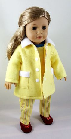 Yellow Fleece Jacket Hat Shirt & Striped Pants made to fit
