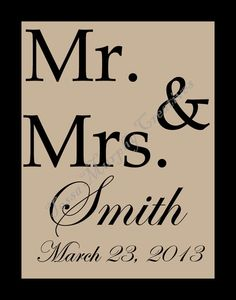 Custom MR. AND MRS. print with name and wedding date.