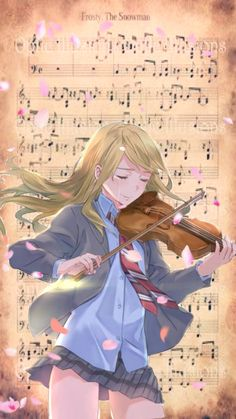 wallpapers for phone anime girl music - Shigatsu wa kimi no uso Kaori -iphone