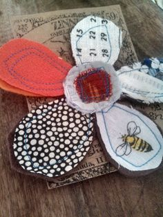 flower fabric sewn bloom pins. #upcycled #flower #pin #brooch