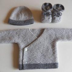 Brassière bonnet chaussons bébé en laine naissance petit poids 2.5kg