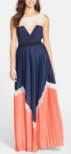 Pleated colorblocked maxi dress