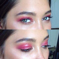 Raspberry-colored eyelids
